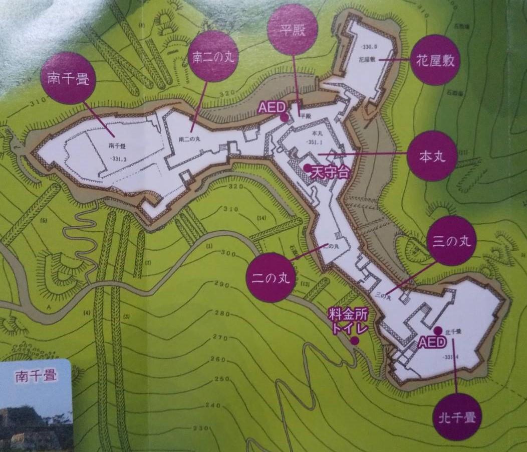 竹田城跡の縄張り